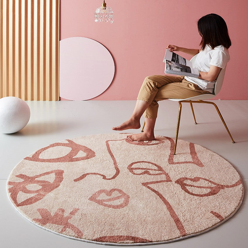 INS Pink Rugs For Living Room Abstract Faces Weaved Bedside Carpet