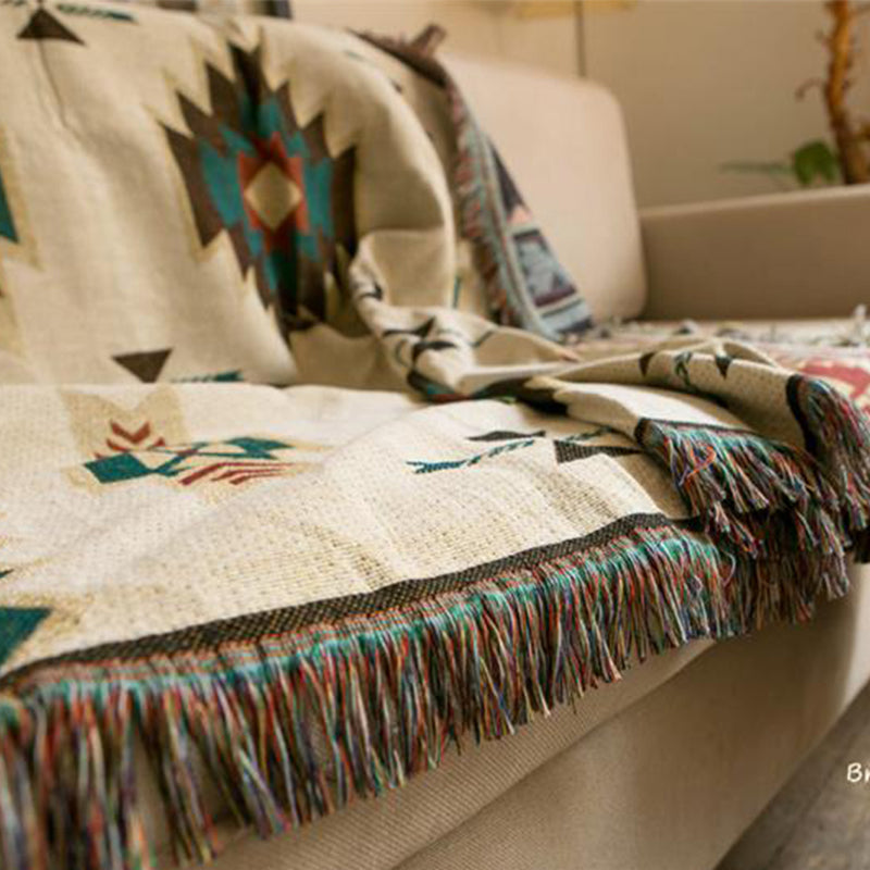 Ethnic Bohemian Knitted Throw Blanket