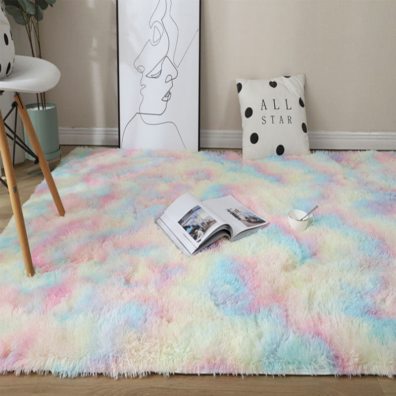 Rainbow Colors Carpets Tie Dyeing Plush Soft Carpets For Bedroom