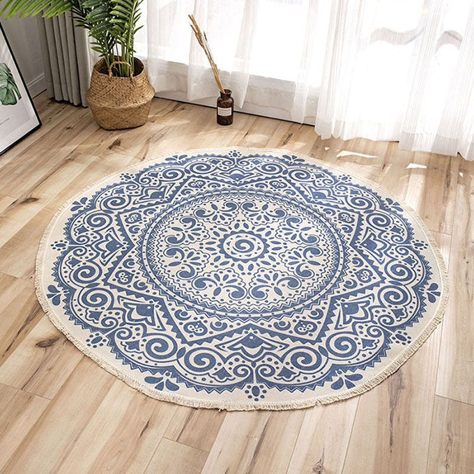 Nordic Round Carpets Bohemia Ethnic Tassel Rugs For Living Room