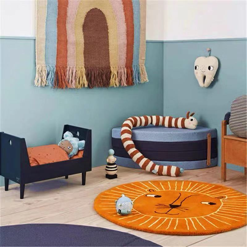 Soft Round Carpets Lion Bunny Thick Kids Room Rugs