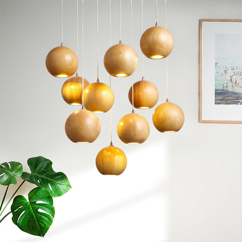 Nordic Wood Pedant Lamp Nut Shape Ceiling Light Handmade Wooden Pendant Lighting