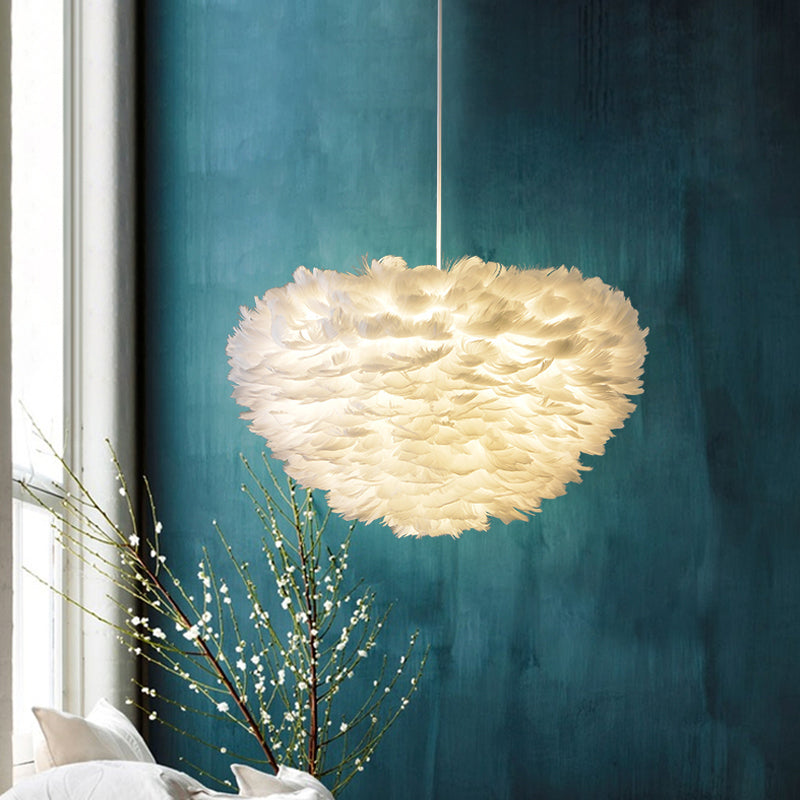 Nordic Design Feather Pendant Lights Lighting Fixture For Bedroom