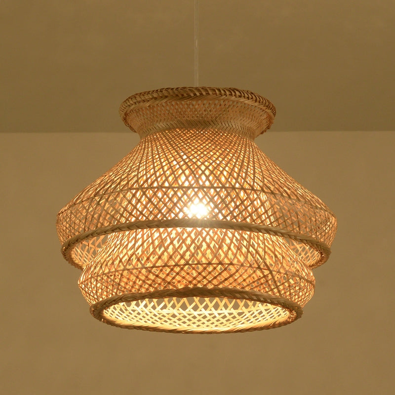 Drum Bamboo Pendant Lighting Globes