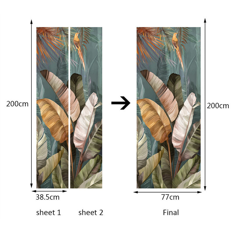 PVC Waterproof Self-adhesive Door Stickers Banana Leaf 3D Photo Mural Wallpaper