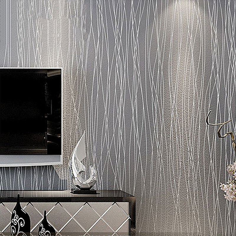Plain Grey Silver Stripes Flocked Wallpaper