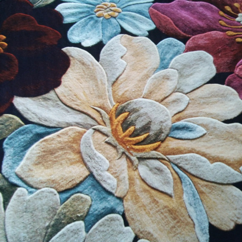 3D Three-dimensional Flower Round Mat Velvet Non Slip Floor Carpet