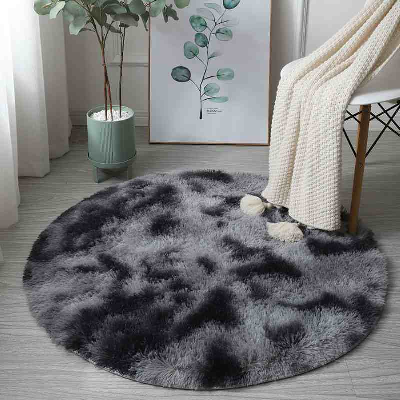 Round Rainbow Colorful Soft Fluffy Carpets For Bedroom Decoration
