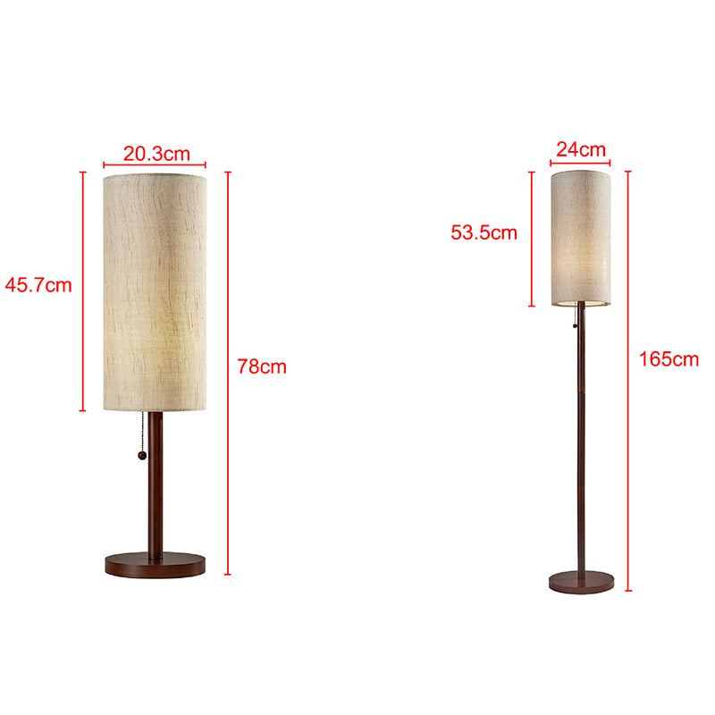 Simple Fabric Light Shade Wooden Tall Floor Lamp For Bedroom