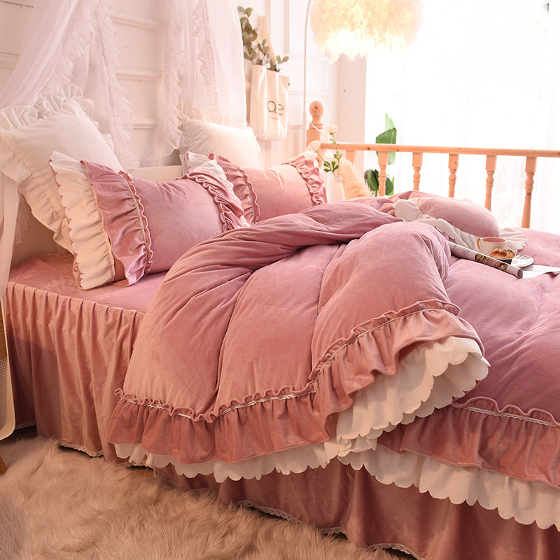 Soft Flannel Pillowcase Fleece Warm Sheet Bedding Set for Girl