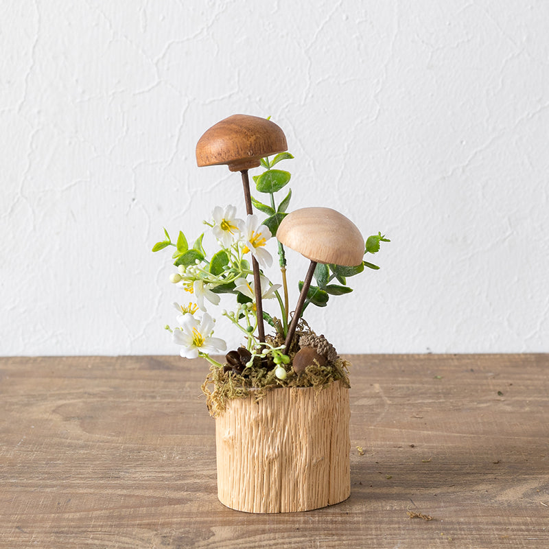 Creative Wood Mushroom Crafts Green Plant Home Decoration