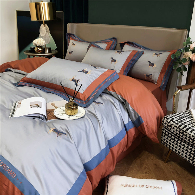 Bedlinens Silkly Cotton Bedding Set Sheet Duvet Cover Set