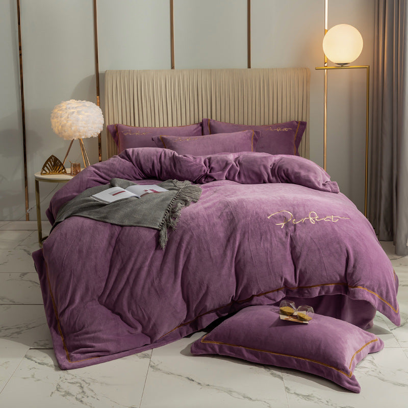 Soft Velvet Bedding Set Contains Sheet Duvet Cover Pillowcase
