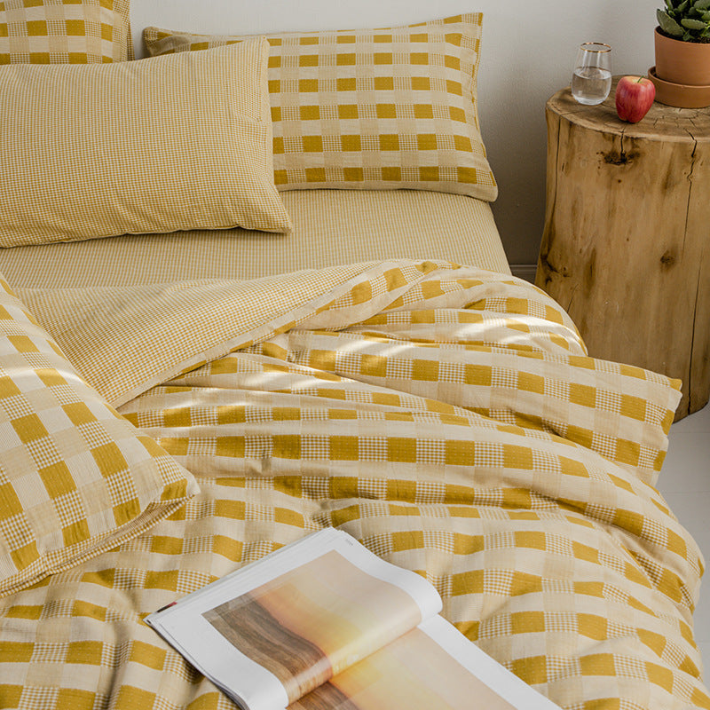 Minimalist Plaid Cotton Bedding Set Spring Duvet Cover