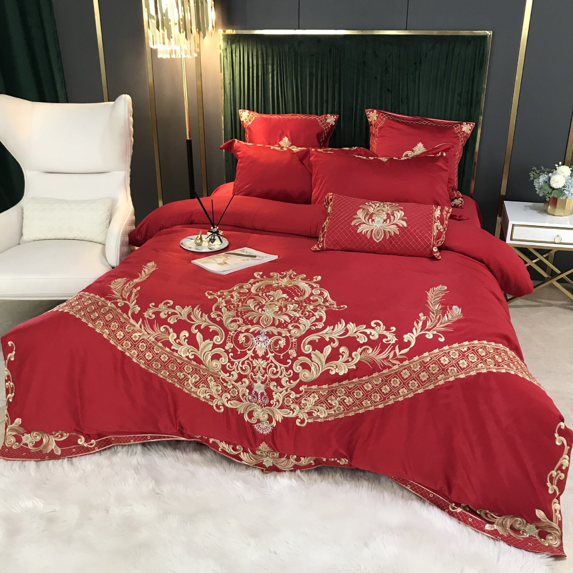 Embroidery Silky Duvet Cover Sets Cotton Bedding Set