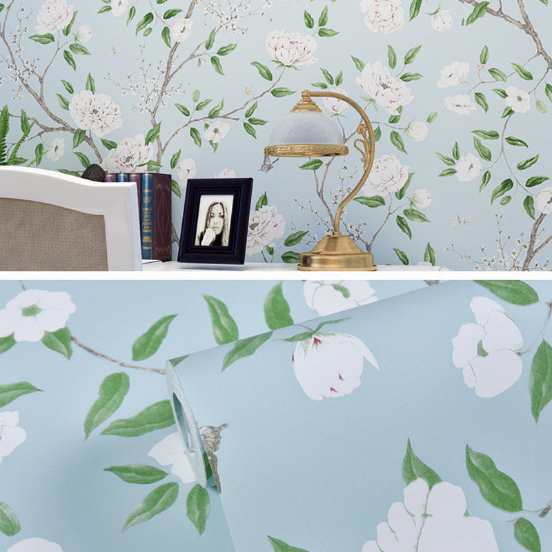 Modern Flower & Bird Waterproof Green Wallpaper