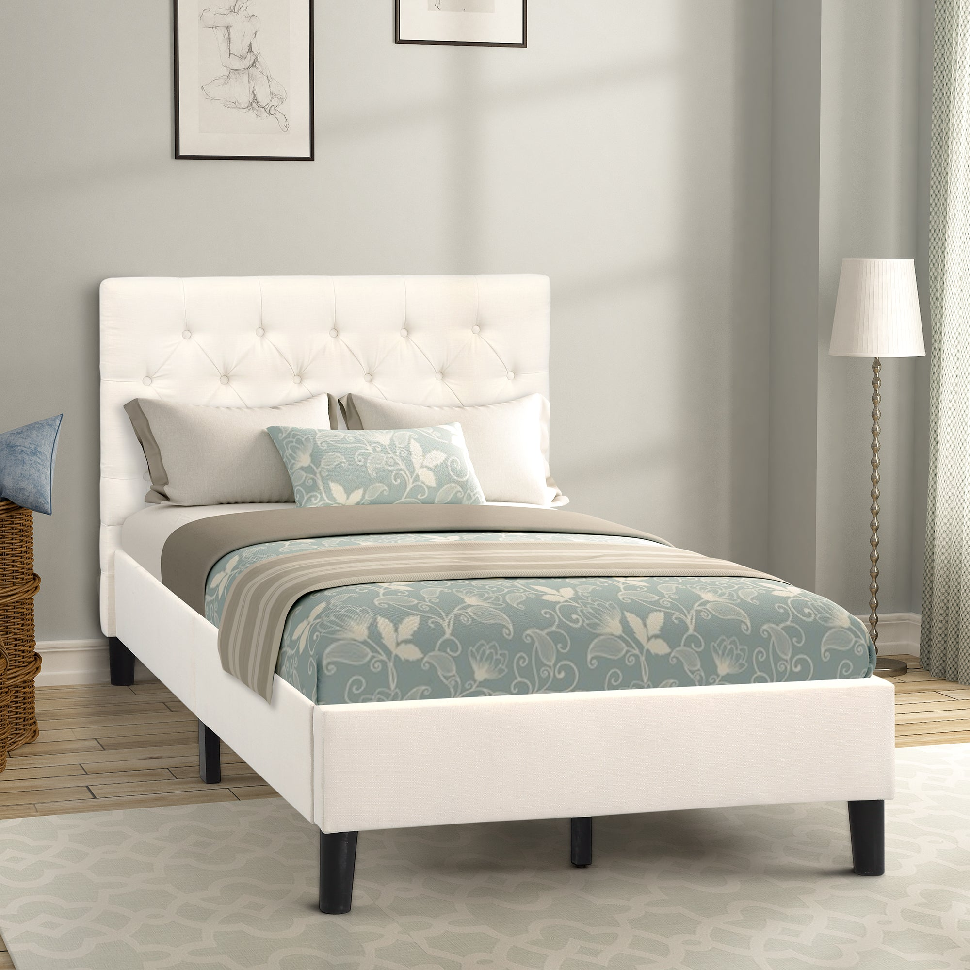 Twin Tufted Solid Wood Platform Bed