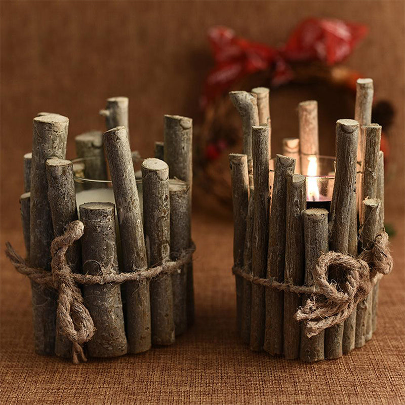 Retro Candle Holder Home Decoration Creative Props Pen Holder Wooden Crafts
