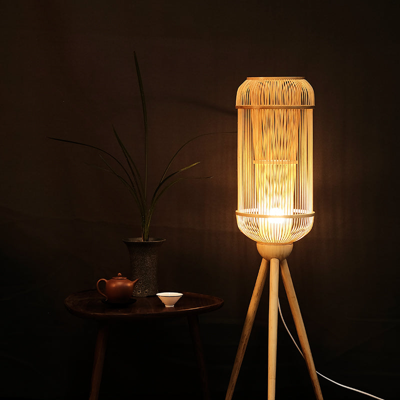 Handmade Bamboo Floor Lamp Creative Handicraft Art Floor Lights