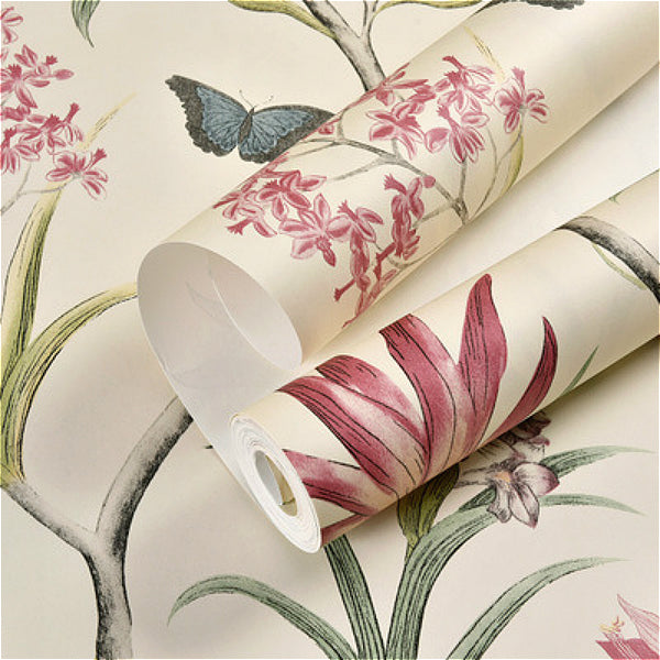 Vintage Pink Floral Wallpaper Blue Butterfly Birds Flower Wall Paper
