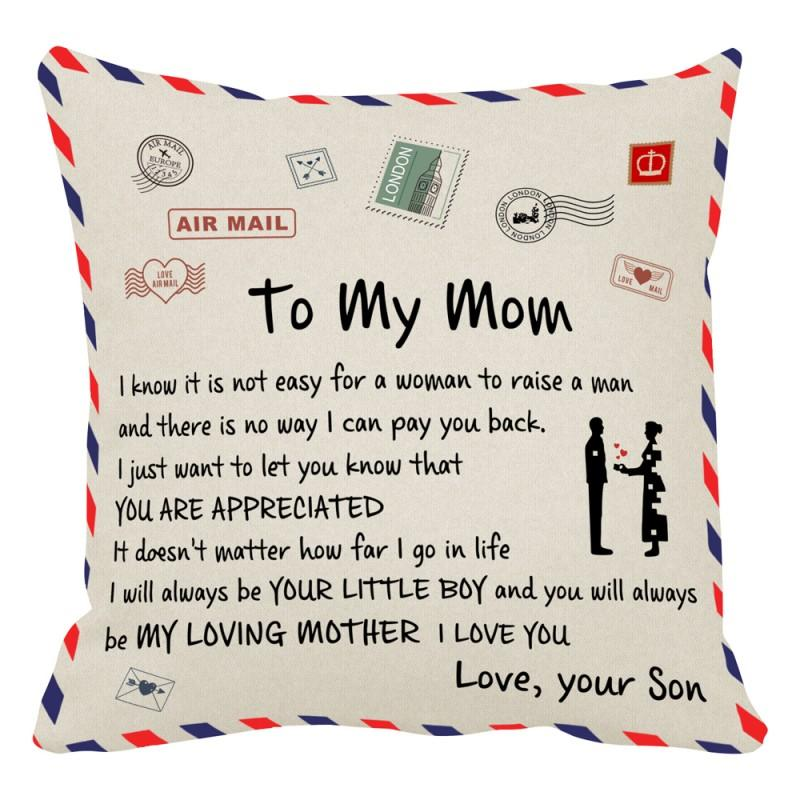 Letter Cushion Pillow Case Bedroom Office Gift