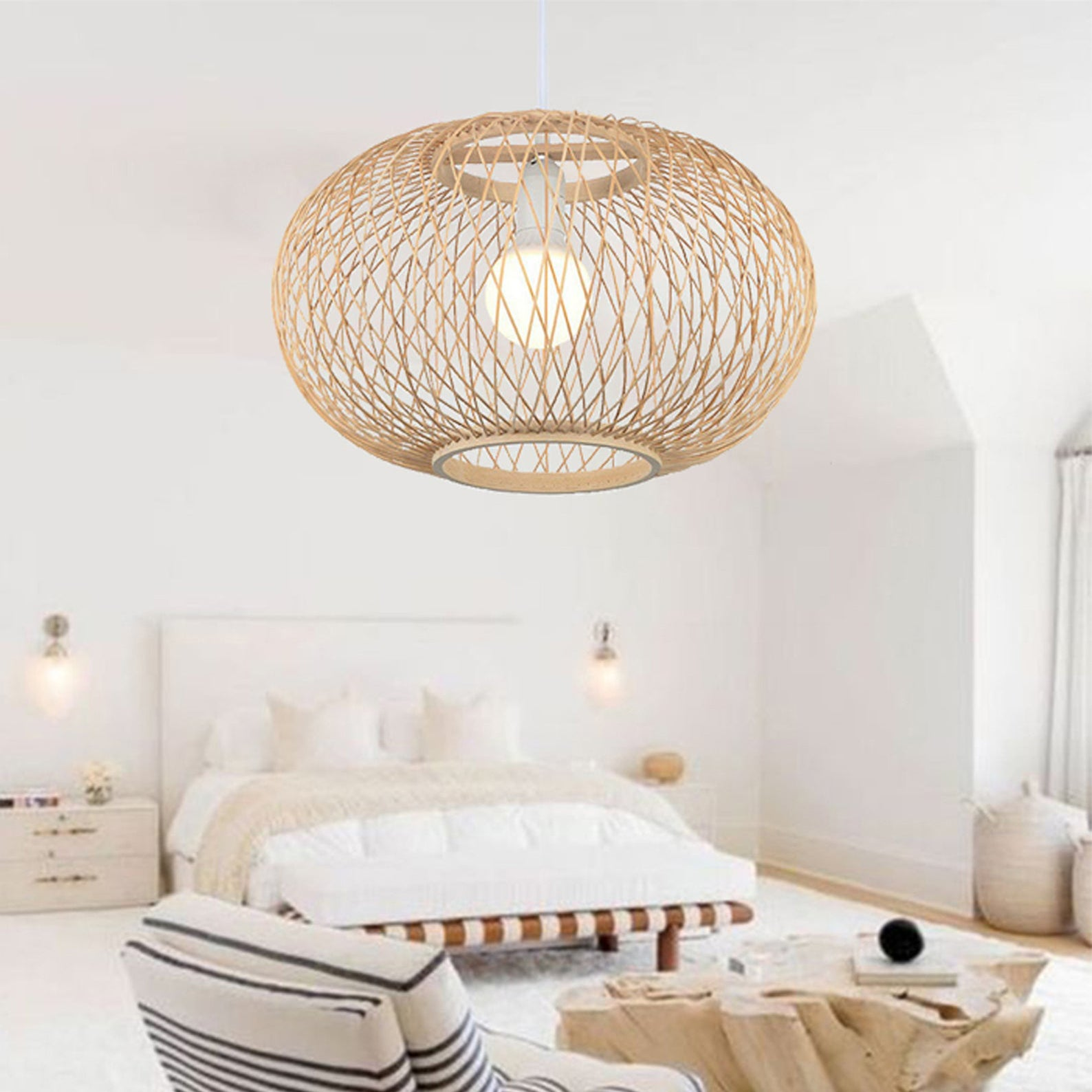 Rattan Hanging Light Lampshade Wicker Pendant Lights
