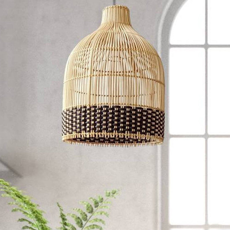 Black Rattan Woven Pendant Lampshade Hanging Light Fixture