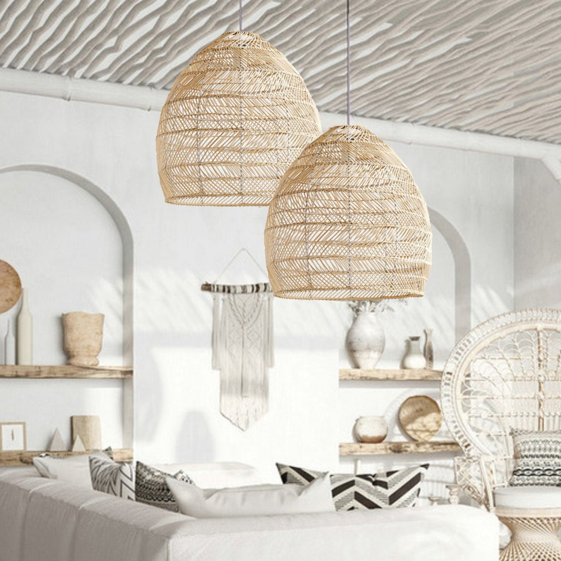 Design Basket Rattan Woven Pendant Light Shades
