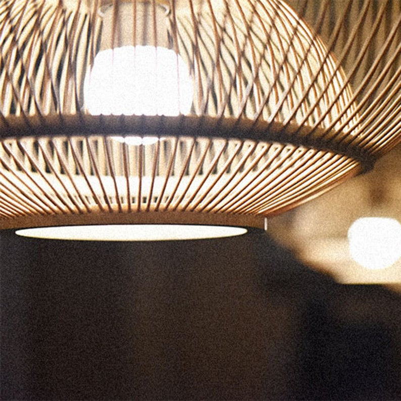 Japanese Bamboo Hanging Light Fixture Pendant Lampshade