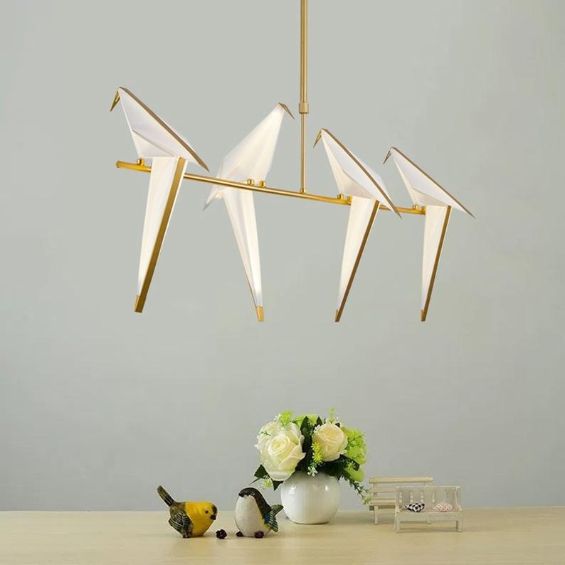 Nordic Creative Paper Cranes Ceiling Light Origami Bird Pendant Lamps