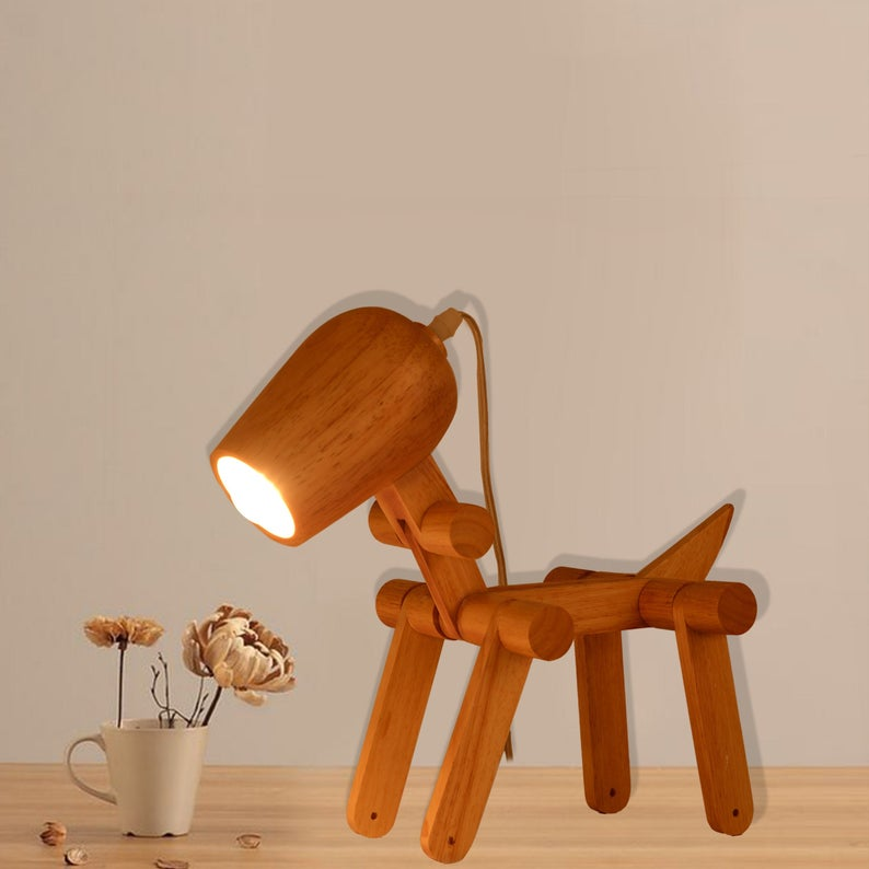 Dog Shaped Table Lamp Adjustable Bedside Light