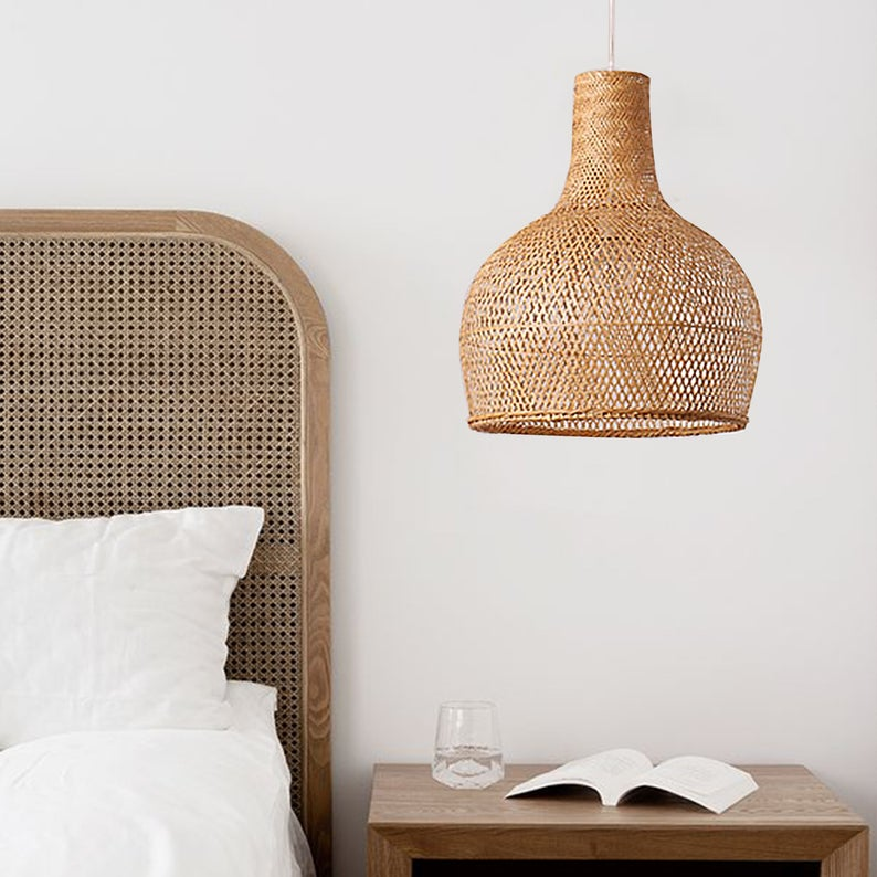 Drum Pendant Lighting Bamboo Woven Lamp Shades