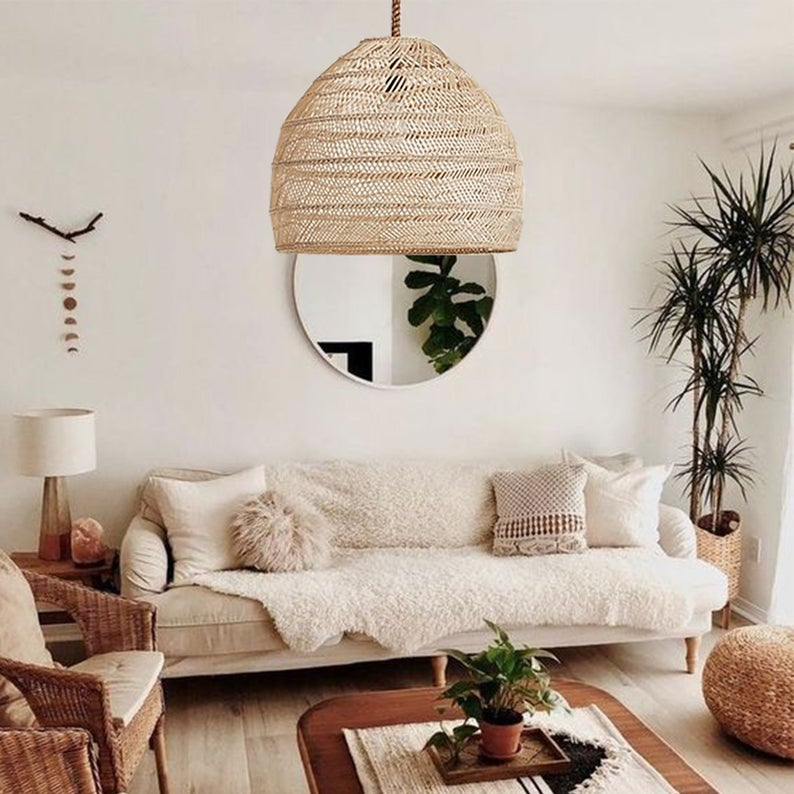 Nordic Rattan Hanging Light Shades Living Room Lamp Shade