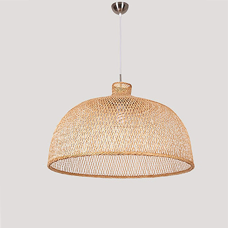 Bowl Bamboo Hanging Light Fixtures Lamp Shades