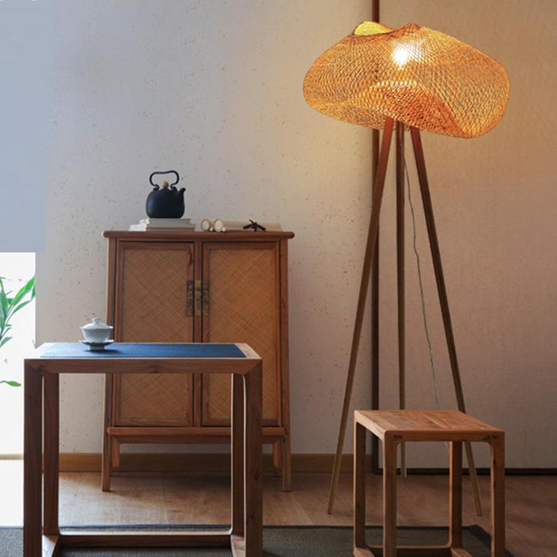 Bamboo Woven Design Floor Lamp Warm Wood Lighting
