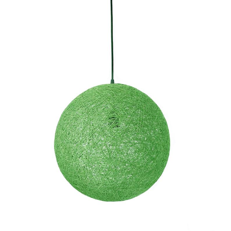 Colorful Globe Rattan Woven Pendant Light Wicker Ceiling Lamp Shade