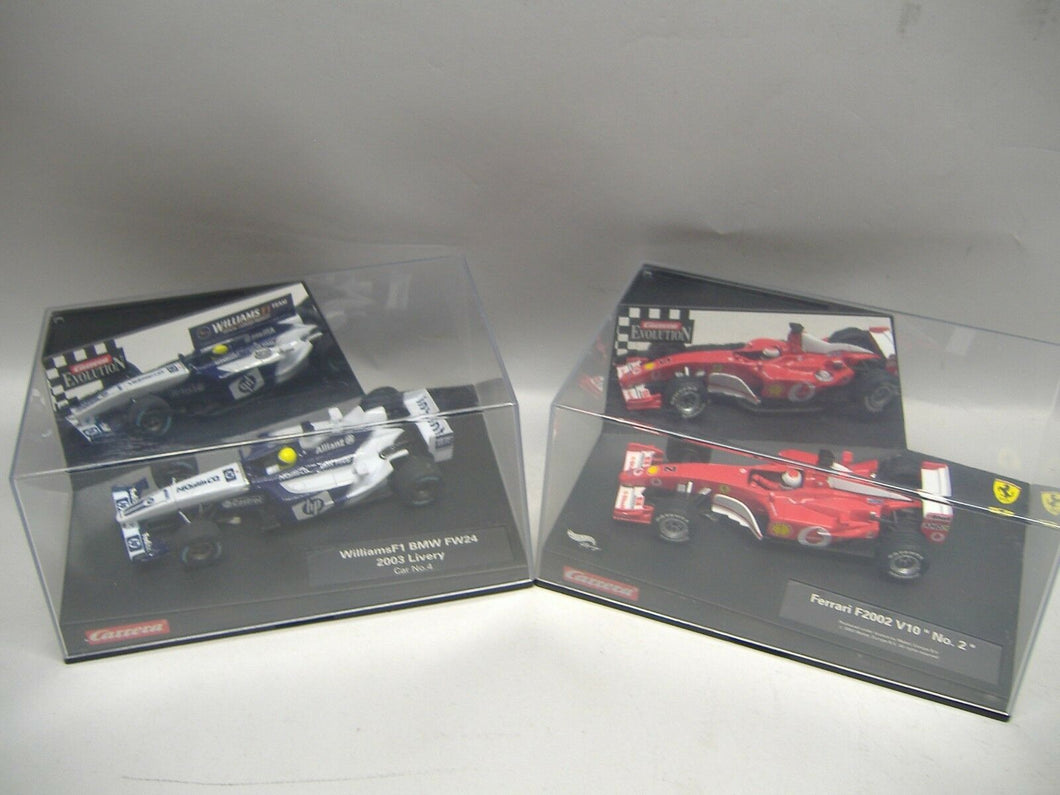 Carrera Evolution 25705 BMW No. 4  & 25707 Ferrari F 2002 No .2 1:32 NEU & OVP
