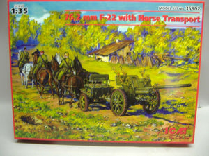 ICM 35802 72,2 mm F-22 with Horse Transport 1:35 neu & Ovp