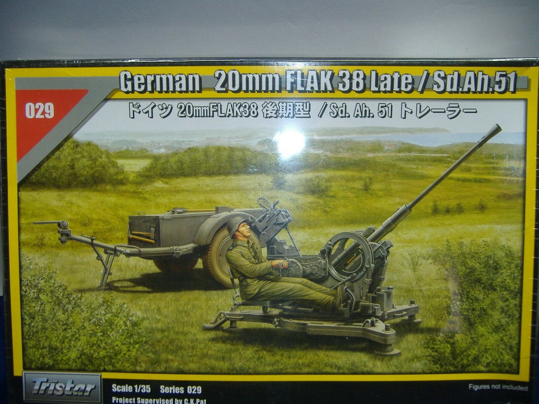 Tristar 35029 German 20mm FLAK 38 Late / Sd.Ah.51 1:35 Neu & Ovp