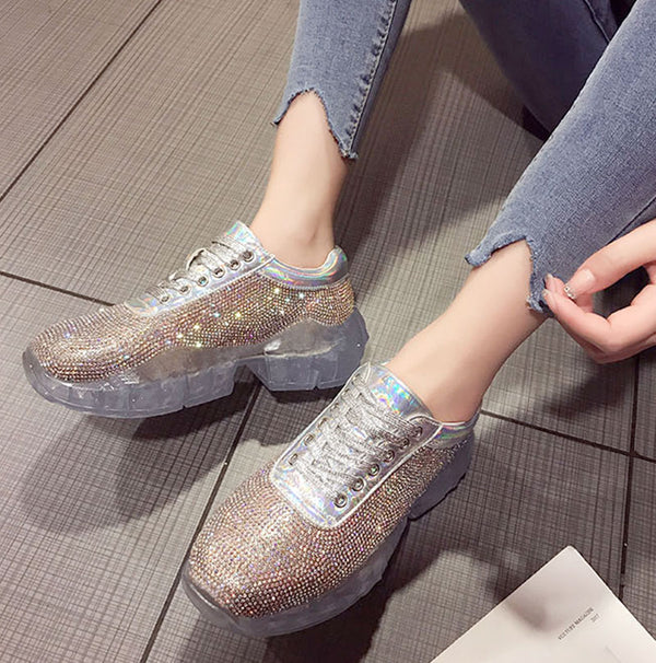 Crystal transparent platform shoes 2019 new rhinestones