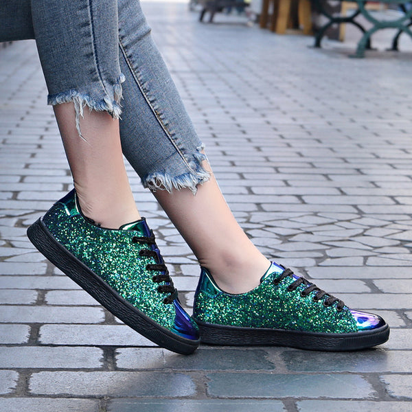 2019 spring new fashion color sequins casual street shot low to help single shoes