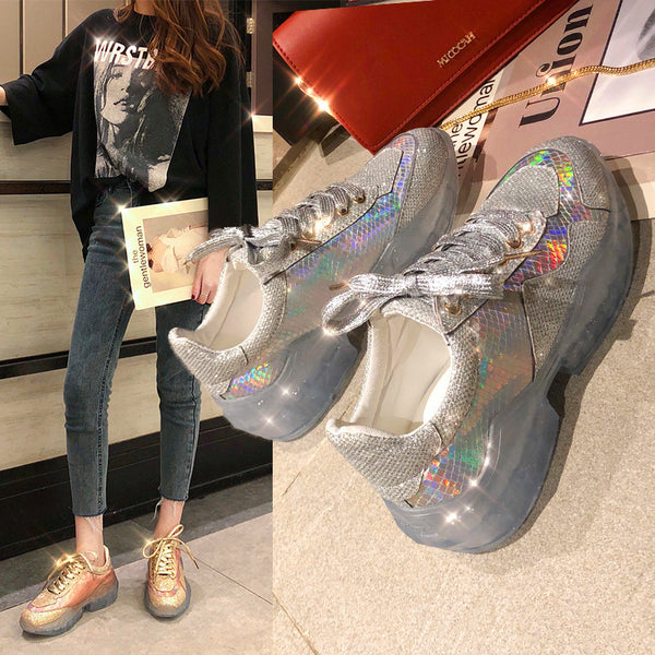 2019 new full-drilled water thick bottom muffin wedge sneakers old shoes