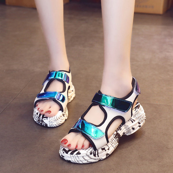 Sports and leisure flat bottom cake thick platform Korean sandals