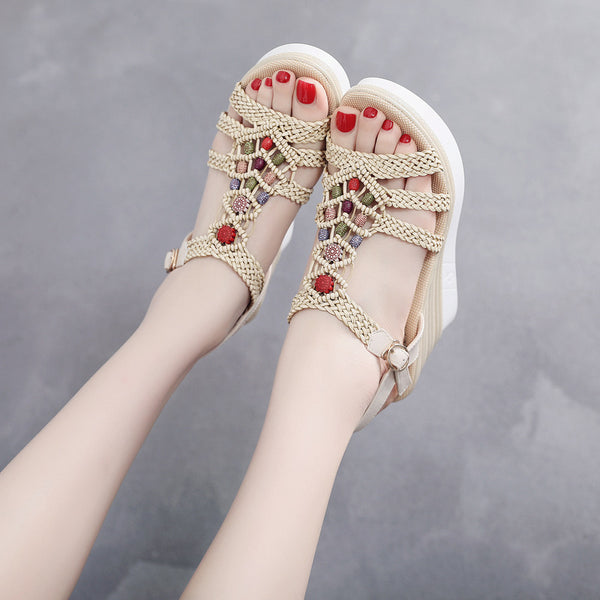 2019 summer new hemp rope high heel platform sandals