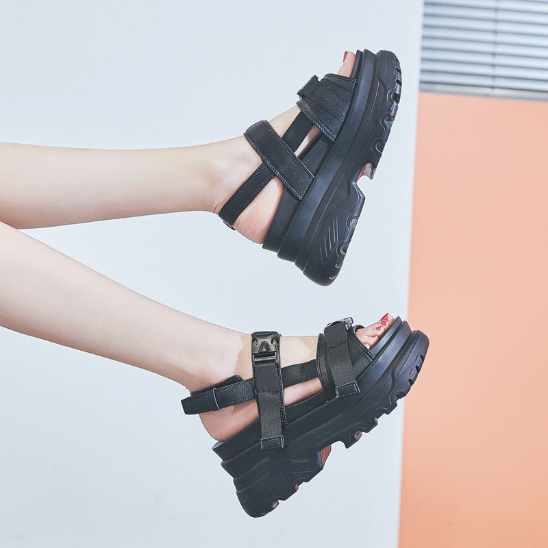 New summer hollow leather thick-soled sports increased sandals