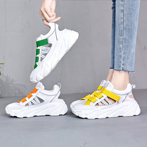Female summer color breathable hollow sports casual platform old shoes