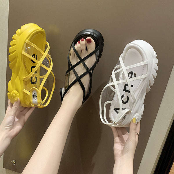2019 summer new Korean version of the plastic transparent sandals muffin platform shoes