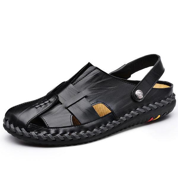 Casual hollow leather sandals