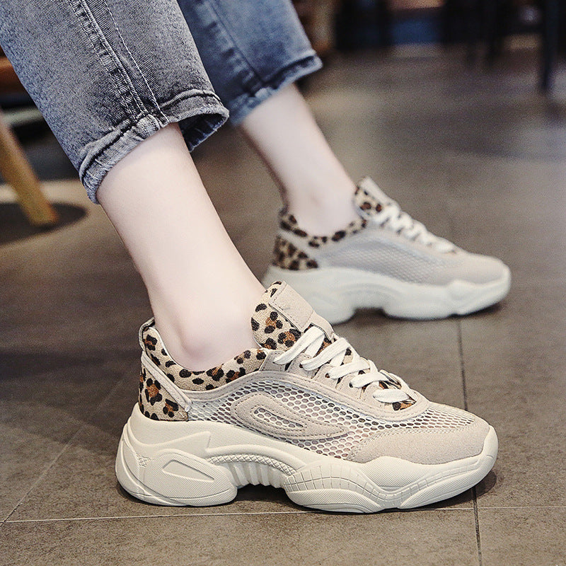 2019 summer new ins super fire net red thick bottom leopard sneakers