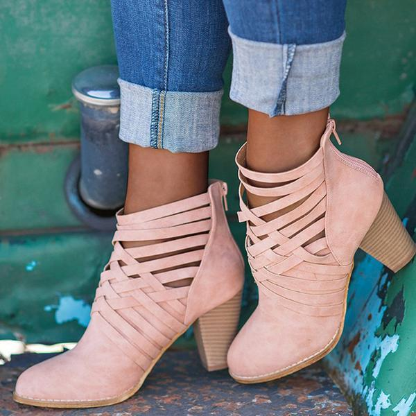 Boots - Crisscross Caged Back Zipper Ankle Boots